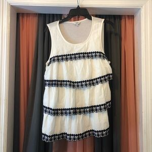 Crown & Ivy White and Navy/Black Tank Ruffles&Lace